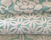 Vintage Chenille Bedspread Fabric ~ AQUA Collection