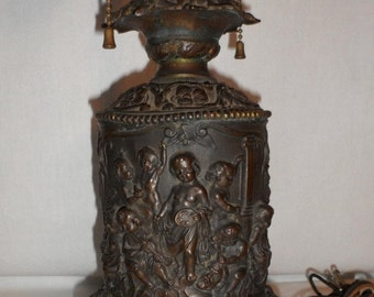 Sale Antique Embossed Metal Ornate Relief Cherub Table lamp/Home Decor/Art Nouveau