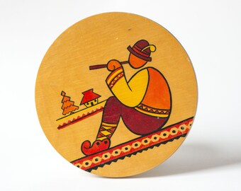 Vintage Wood Painted Shepherd Picture Round, Carpathian Wall Hanging Plate 70s, Sandy Red Mountaineer Traditional Painting Wood Home Decor