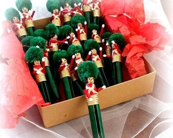 FALL SALE 24 Clothes Pin Soldier Ornaments - Red & Green - Vintage Christmas Tree Ornaments