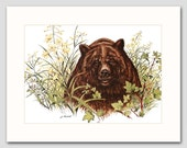 "Grizzly Bear Art Print w/Mat (Rustic Home Decor, Office Art Gift Idea for Dad) Matted Vintage Animal Art -- ""American Grizzly Bear"" No. 3"