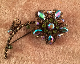 1950s West Germany Rhinestone Floral Pin Gold Filigree Setting with Green and Blue AB Rhinestones Sparkling Multi-Color Vintage Pin for Her