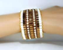 Tila Cuff Bronze n White, beadwoven, crystals, seed beads, luxe, glam, beaded cuff, 2 inch wide, fancy, elegant, neutral earthy colors, gift