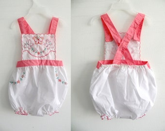 RESERVED for MsMikaela -- 70s 80s Baby Girl butterfly Bubble Romper - Beach Summer - 18 months