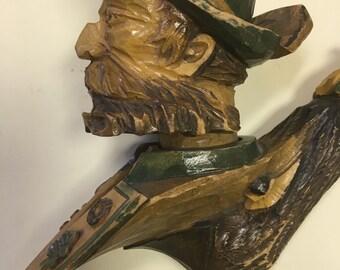 Vintage German Bavarian Wood Carved Pipe Figural Bearded Man