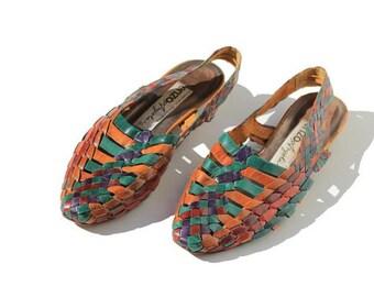 size 7 Color Block Handwoven Leather Sandals