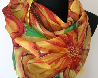 Gold, tangerine, yellow floral scarf. Hand painted silk scarf. Painted scarf. Golden summer scarf