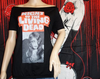 Night of the Living Dead Shirt only For Sale Horror Zombie Off the Shoulder Shirt Top George Romero Dawn of the Dead
