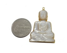 White Cats Eye Sitting Buddah Pendant with Electroplated 24k Gold Edge (S95B16-09)