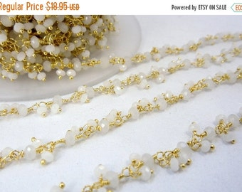 35% off Wholesale Rainbow Moonstone Dangling Wire Wrapped Beaded Chain - Gold Layered Rosary Style Chain- PER FOOT (CHN-295)