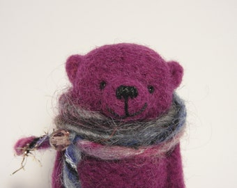 Felted Lilac Bear brooch, Bear's name HUGO, gift for friend, in the gift box