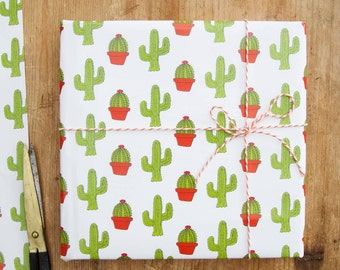 Cactus Christmas gift wrap, single sheet 50cm x 70cm - fun and quirky design from our studio! Christmas wrapping paper in green and red