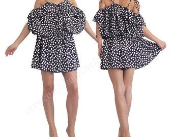 Women jumpsuit/ Women romper/ Short jumpsuit/ Playsuit/ Oversized jumpsuit/ overall/ loose jumpsuit/ convertible dress/backless LADYBUG