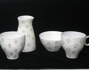 Raymor Italy Signed Atomic Eyes 4 Piece Espresso Set - Mid Century Modern Art Pottery w/ Label