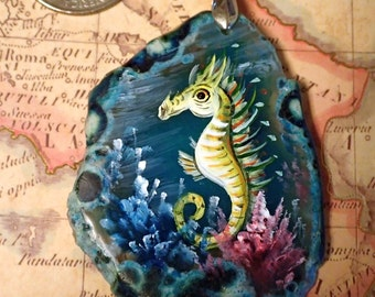 Seahorse Pendant Hand Painted on teal Agate Slice