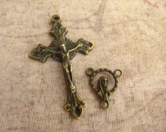 Bronze Large Crucifix and Matching Mary/Sacred Heart of Jesus Center
