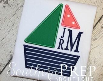 Boy's Sailboat Shirt - Summer Shirt - Sailboat Monogram - Boat design - Personalized Shirt - Monogram Summer shirt