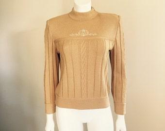 St John Knit / 80s / Gold Sweater / Logo / Designer Clothing / High Fashion / Preppy