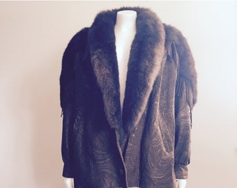 Fringe Leather / Marvin Richards / 80s Leather Jacket / Leather Fur Coat / Southwestern / Boho Fringe