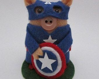 Captain America Pig - Superhero - Superpig -  Marvel Comic Book Hero