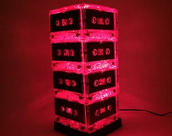 UPCYCLED LIGHTING Music Lover Red Mixtape Light Cassette Lamp Repurposed Upcycled Eco Friendly Pop Culture Mood Light