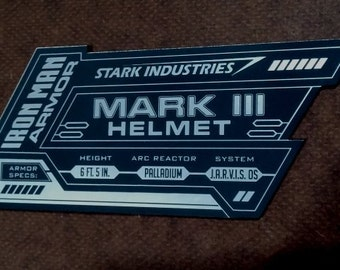 IRON MAN Mark 3 Display Name Placard For Your HELMET Armor iii