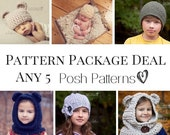 Knitting Patterns - Crochet Patterns - Discount Design Pattern Package - Choose ANY 5 - Crochet Patterns for Babies - Knitting Pattern Hat