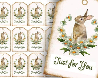 Bunny Tags, Favor Tags, Rabbit Just For You Tags Easter Gift Tags, Printable Tags, digital Download Tags, craft supplies