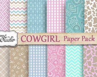 Western Cowgirl Paper Pack, Scrapbook Paper, Digital paper pack, Pink Cowgirl Paper, Western Digital Paper, Cowhide Print, digital collage