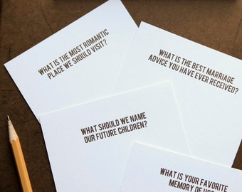 DIY Wedding Reception Conversational Questions Starters Cards Guest Book Game