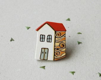 Little house brooch hand painte house pin  home sweet home brooch