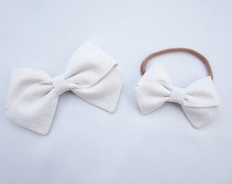 Ivory Linen Hand Folded Bow Headband Nylon Skinny Headband
