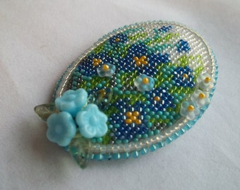Bead embroidery Forget-me-not flower brooch. Miniature flower brooch. Christmas gift.  Mother's Day gift
