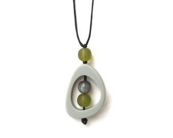 Nursing Necklace - Baby Safe Breastfeeding Necklace - Monkey Mama Twiddle Buster - Grey, Silver, Olive Green, Fall Fashion