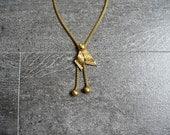 1940s necklace . vintage 40s gold tone retro necklace
