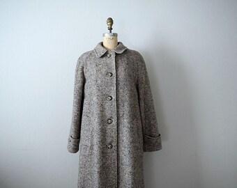 Vintage herringbone coat . 1970s wool jacket