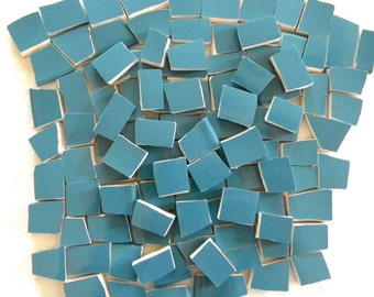 DANISH Blue Solid Color Stoneware Mosaic Tiles - Recycled Plates - 50 Tiles