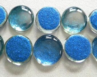 10 LARGE Flat Glass GLITTER Gems - Royal Blue - Half Marbles - Mosaics/Wedding/Floral Display
