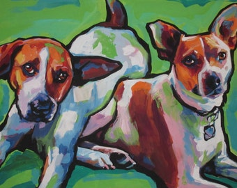 """Mountain Feist dogs PRINT of modern colorful pop art painting 13x19"""" bright colors"""