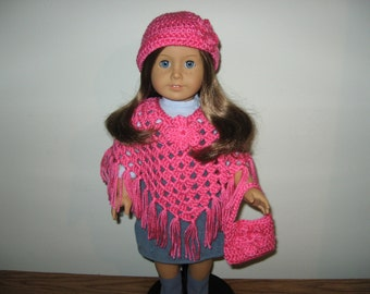 "Hand-Crocheted bright Pink 3 piece Poncho set with Flower Motifs for 18"" 18 inch Dolls will fit American Girl"