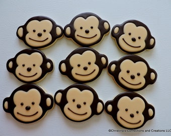Little Monkey Hand Decorated Sugar cookies  (#2552)