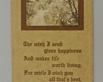 Post 1907 Divided Postcard Heavy Card Stock Sepia Print.