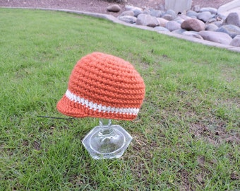 New, 0-3 months, Baby Fall Colored Orange Crochet Baby Pageboy Hat, Great Prop or Gift