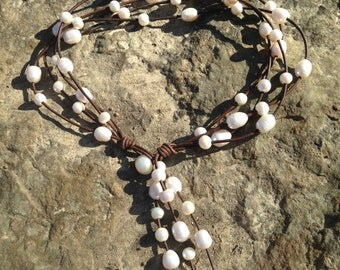 Multi Freshwater Pearl and Leather Cluster Tassel Lariat