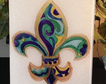 Cutting Board - Fleur de Lis Swirl Cutting Board - New Orleans Gift - Serving Tray - Nola Cutting Board - Home Decor - New Orleans Decor