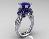 Classic 14K White Gold 3.0 Ct Blue Sapphire Knot Engagement Ring R390-14KWGBS
