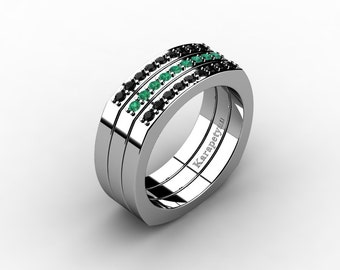 Mens Modern Conservative 14K White Gold Black Diamond Emerald Cluster Ring G10041-14KWGEMBD