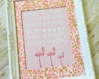 Pink Flamingo Nursery Print, Flamingo Nursery Decor, Pink Girl Nursery Decor, Baby Shower Gift, Girl Nursery Print - 11x14