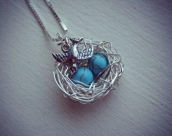 2 Eggs Bird's Nest Necklace, Bird Charm & Chain - Argentium Sterling Silver Pendant