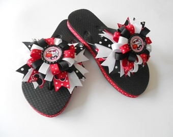 My First trip to Disney Minnie Mouse Mickey Mouse Disney Boutique flip flops and matching hair bow